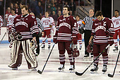 Ryan Wischow (UMass - 1), Ray Pigozzi (UMass - 15), Steven Iacobellis (UMass - 16) - The Boston University Terriers defeated the University of Massachusetts Minutemen 3-1 on Friday, February 3, 2017, at Agganis Arena in Boston, Massachusetts.The Boston University Terriers defeated the visiting University of Massachusetts Amherst Minutemen 3-1 on Friday, February 3, 2017, at Agganis Arena in Boston, MA.