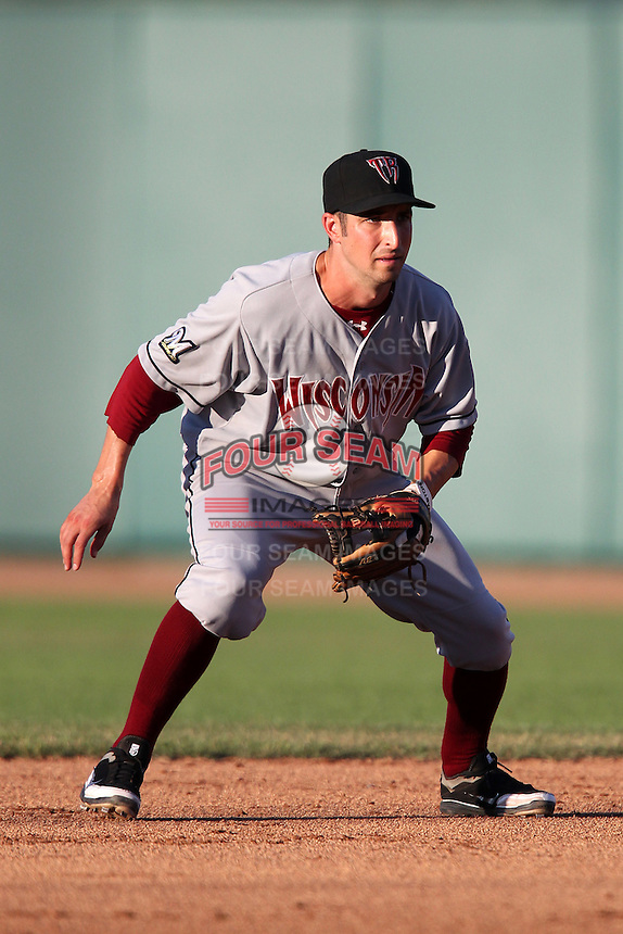 Wisconsin Timber Rattlers second baseman Mike Brownstein #4 during a game against the Lansing Lugnuts at Cooley Stadium on July 21, 2011 in Lansing, Michigan.  Lansing defeated Wisconsin 5-4.  (Mike Janes/Four Seam Images)