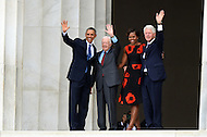 August 28, 2013  (Washington, DC)  Former Presidents Bill Clinton (r) and Jimmy Carter join President Barack Obama and Michelle Obama  at the top of the steps of the Lincoln Memorial at the conclusion of the 50th anniversary of the 1963 March on Washington August 28, 2013.  (Photo by Don Baxter/Media Images International)