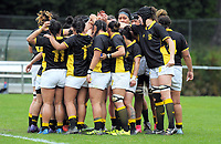 The Wellington team huddles during the Farah Palmer Cup women's provincial rugby match between Wellington Pride  and Auckland at Jerry Collins Stadium / Porirua Park, Wellington, New Zealand on Saturday, 23 September 2017. Photo: Dave Lintott / lintottphoto.co.nz