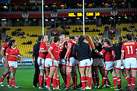 The Canada team huddles after the final whistle of the 2017 International Women's Rugby Series rugby match between the NZ Black Ferns and Canada at Westpac Stadium in Wellington, New Zealand on Friday, 9 June 2017. Photo: Dave Lintott / lintottphoto.co.nz