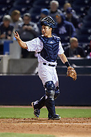 Tampa Yankees catcher Sharif Othman (62) signals to the defense during a game against the Lakeland Flying Tigers on April 7, 2017 at George M. Steinbrenner Field in Tampa, Florida.  Lakeland defeated Tampa 5-0.  (Mike Janes/Four Seam Images)