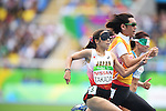 Chiaki Takada &amp; Omori Shigekazu (JPN),<br /> SEPTEMBER 8, 2016 - Athletics : <br /> Women's 100m T11 Preliminary Round <br /> at Olympic Stadium<br /> during the Rio 2016 Paralympic Games in Rio de Janeiro, Brazil.<br /> (Photo by AFLO SPORT)