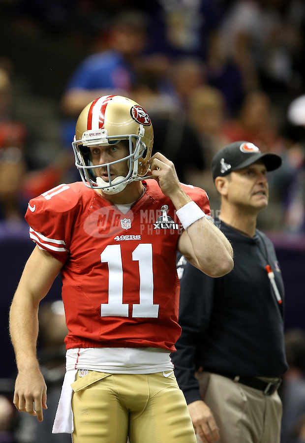Feb 3, 2013; New Orleans, LA, USA; San Francisco 49ers quarterback Alex Smith (11) and head coach Jim Harbaugh against the Baltimore Ravens in Super Bowl XLVII at the Mercedes-Benz Superdome. Mandatory Credit: Mark J. Rebilas-