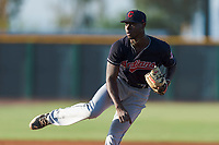AZL Indians 1 starting pitcher Tahnaj Thomas (40) follows through on his delivery during an Arizona League game against the AZL Cubs 1 at Sloan Park on August 27, 2018 in Mesa, Arizona. The AZL Cubs 1 defeated the AZL Indians 1 by a score of 3-2. (Zachary Lucy/Four Seam Images)