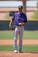 Colorado Rockies relief pitcher Alec Byrd (14) during an Extended Spring Training game against the Chicago Cubs at Sloan Park on April 17, 2018 in Mesa, Arizona. (Zachary Lucy/Four Seam Images)