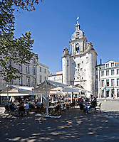 Bar and restaurant situated in front of the big clock which is the entrance to the old part of La Rochelle Charente-Maritime France