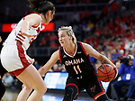 SIOUX FALLS, SD - MARCH 7: Claire Killian #11 of the Omaha Mavericks attempts to get around Ciara Duffy #24 of the South Dakota Coyotes at the 2020 Summit League Basketball Championship in Sioux Falls, SD. (Photo by Richard Carlson/Inertia)