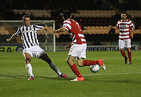 Stephen Hendrie knocks the ball past Dougie Imrie in the St Mirren v Hamilton Academical Scottish Communities League Cup match played at St Mirren Park, Paisley on 25.9.12.