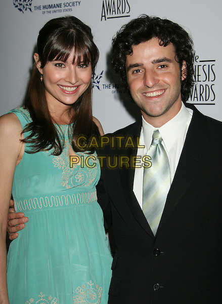 VANESSA BRITTING  & DAVID KRUMHOTZ.22nd Annual Genesis Awards held at the Beverly Hilton Hotel,  Beverly Hills, California, USA,  29 March 2008..half length blue turquoise dress black suit jacket .CAP/ADM/RE.©Russ Elliot/Admedia/Capital PIctures
