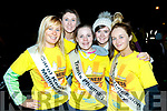 Stacey O'Leary, Aoife O'Leary, Alanna Kissane, Siobháin Bustin and Lisa Engel, all Kerry Rose contestants who took part in the Darkness into Light walk, Tralee, on Saturday last.