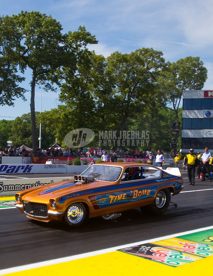Jun. 1, 2014; Englishtown, NJ, USA; NHRA nostalgia funny car Time Bomb during the Summernationals at Raceway Park. Mandatory Credit: Mark J. Rebilas-