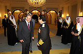 United States Secretary of Defense Donald H. Rumsfeld (left) is greeted by Crown Prince Salman bin Hamad al Khalifa in the Gudaibiya Palace in Manama, Bahrain, on October 9, 2004.  Rumsfeld is in Bahrain to attend a bi-lateral meeting with the Crown Prince.  <br /> Mandatory Credit: James M. Bowman / DoD via CNP