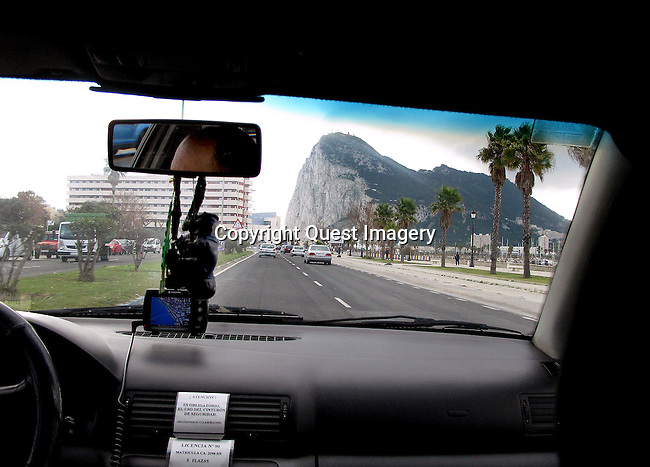 A taxi cab ride from the ferry terminal that travels back and forth across the Strait of Gibraltar from Morocco to the Rock of Gibraltar.<br />