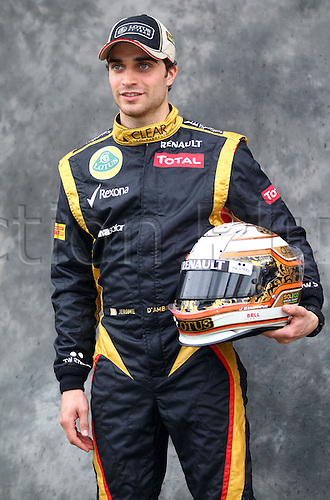 15.03.2012. Melbourne, Australia.  Belgian Formula One testdriver Jerome D'Ambrosio of Lotus during the photo session at the paddock before the Australian Formula 1 Grand Prix at the Albert Park circuit in Melbourne, Australia, 15 March 2012. The Formula One Grand Prix of Australia will take place on 18 March 2012.