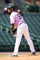 May 10, 2009:  Relief Pitcher Juan Morillo of the Rochester Red Wings, Triple-A International League affiliate of the Minnesota Twins, delivers a pitch during a game at Frontier Field in Rochester, NY.  The Red Wings wore special pink jerseys for Mothers Day.  Photo by:  Mike Janes/Four Seam Images