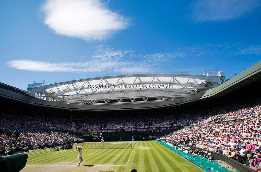 England, London, 28.06.2014. Tennis, Wimbledon, AELTC, Semifinal match between Eugenie Bouchard and Simone Halep, Pictured: Overall view Centercourt<br /> Photo: Tennisimages/Henk Koster