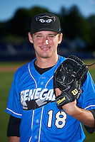 Hudson Valley Renegades pitcher Jayson McKinley (18) poses for a photo before a game against the Batavia Muckdogs on August 2, 2016 at Dwyer Stadium in Batavia, New York.  Batavia defeated Hudson Valley 2-1.  (Mike Janes/Four Seam Images)