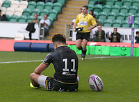 Northampton Saints's Tom Collins celebrates scoring his side's first try<br /> <br /> Photographer Stephen White/CameraSport<br /> <br /> European Rugby Challenge Cup - Northampton Saints v Clermont Auvergne - Saturday 13th October 2018 - Franklin's Gardens - Northampton<br /> <br /> World Copyright © 2018 CameraSport. All rights reserved. 43 Linden Ave. Countesthorpe. Leicester. England. LE8 5PG - Tel: +44 (0) 116 277 4147 - admin@camerasport.com - www.camerasport.com
