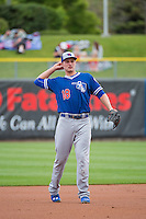 Corey Seager (18) of the Oklahoma City Dodgers between innings against the Salt Lake Bees in Pacific Coast League action at Smith's Ballpark on May 25, 2015 in Salt Lake City, Utah.  (Stephen Smith/Four Seam Images)