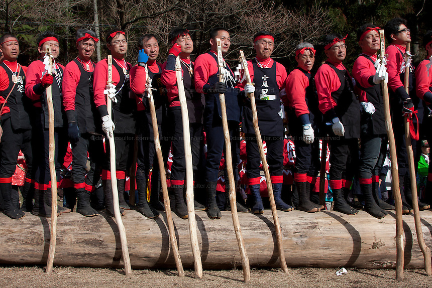 at the Onbashira matsuri which takes place every seven years in the town of Suwa, Nagano. Japan. April 10th 2010