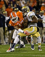The eighth ranked Clemson Tigers defeat the Georgia Tech Yellow Jackets at Death Valley 55-31 in an ACC matchup.  Georgia Tech Yellow Jackets quarterback Vad Lee (2), Clemson Tigers defensive back Bashaud Breeland (17)