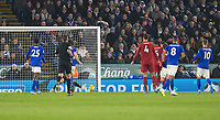26th December 2019; King Power Stadium, Leicester, Midlands, England; English Premier League Football, Leicester City versus Liverpool; Roberto Firmino of Liverpool heads the ball in to the Leicester goal to take the lead 0-1 - Strictly Editorial Use Only. No use with unauthorized audio, video, data, fixture lists, club/league logos or 'live' services. Online in-match use limited to 120 images, no video emulation. No use in betting, games or single club/league/player publications