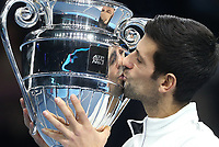 Novak Djokovic after being presented with the trophy for finishing ATP world number one for 2018<br /> <br /> Photographer Rob Newell/CameraSport<br /> <br /> International Tennis - Nitto ATP World Tour Finals Day 1 - O2 Arena - London - Sunday 11th November 2018<br /> <br /> World Copyright © 2018 CameraSport. All rights reserved. 43 Linden Ave. Countesthorpe. Leicester. England. LE8 5PG - Tel: +44 (0) 116 277 4147 - admin@camerasport.com - www.camerasport.com