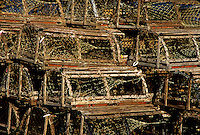 Traditional wooden lobster traps, Cape Cod, Massachusettes<br />