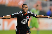 DC United forward Charlie Davies (9) celebrates his score in the 52th minute of the game.  DC United defeated The Seattle Sounders 2-1 at  RFK Stadium, Wednesday May 4, 2011.