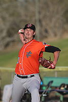 Chris Ellis (28) of the Inland Empire 66ers warms up in the bullpen before pitching during a game against the High Desert Mavericks at Mavericks Stadium on May 6, 2015 in Adelanto, California. Inland Empire defeated High Desert, 10-4. (Larry Goren/Four Seam Images)