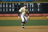Wake Forest Demon Deacons third baseman Cole McNamee (40) on defense against the Quinnipiac Bobcats at David F. Couch Ballpark on February 24, 2019 in  Winston-Salem, North Carolina.  The Demon Deacons defeated the Bobcats 15-5.  (Brian Westerholt/Four Seam Images)