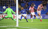 26th November 2019; Cardiff City Stadium, Cardiff, Glamorgan, Wales; English Championship Football, Cardiff City versus Stoke City; Leandro Bacuna of Cardiff City shoots to score Cardiff City's first goal making it 1-0 in the 11th minute - Strictly Editorial Use Only. No use with unauthorized audio, video, data, fixture lists, club/league logos or 'live' services. Online in-match use limited to 120 images, no video emulation. No use in betting, games or single club/league/player publications