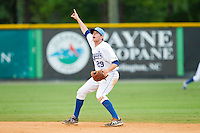 Burlington Royals second baseman Kevin Kuntz (29) points to a fly ball during the Appalachian League game against the Elizabethton Twins at Burlington Athletic Park on August 11, 2013 in Burlington, North Carolina.  The Twins defeated the Royals 12-5.  (Brian Westerholt/Four Seam Images)