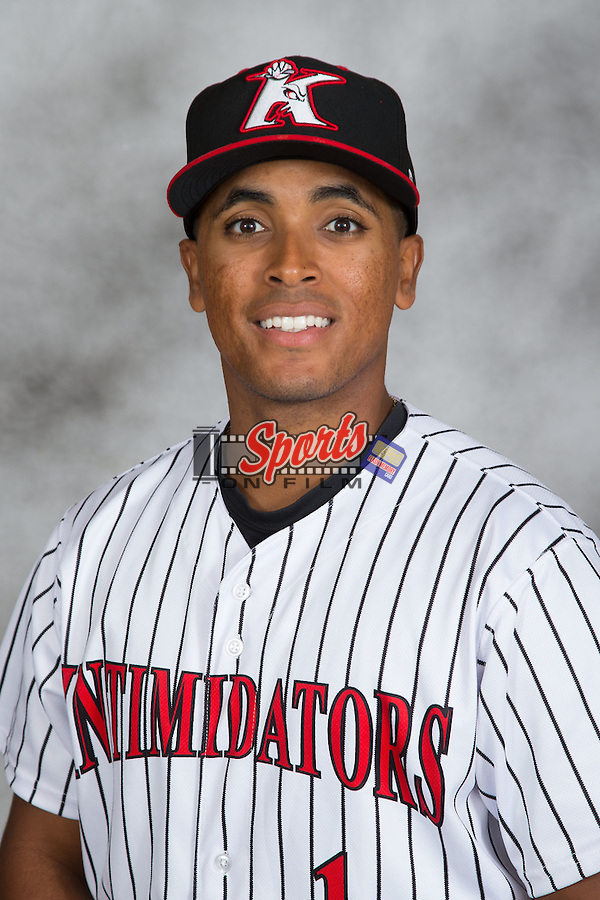 Dante Flores (1) of the Kannapolis Intimidators poses for a head shot at Kannapolis Intimidators Stadium on May 4, 2016 in Kannapolis, North Carolina.  (Brian Westerholt/Four Seam Images)
