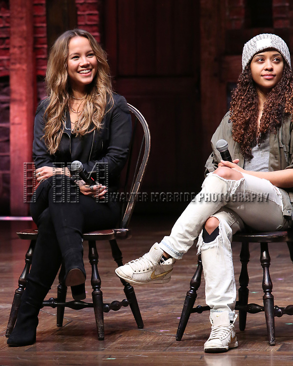 """Elizabeth Judd and Sasha Hollinger during the  #EduHam matinee performance Q & A for """"Hamilton"""" at the Richard Rodgers Theatre on 3/28/2018 in New York City."""