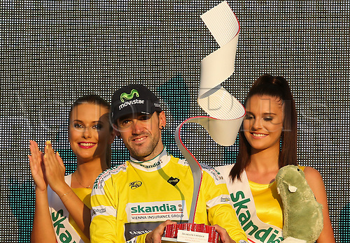 08.08.2015, Krakow, Poland. Tour of Poland Cycling tour, stage 7. Time trials, Krakow.  Jon Izaguirre (ESP) on the podium