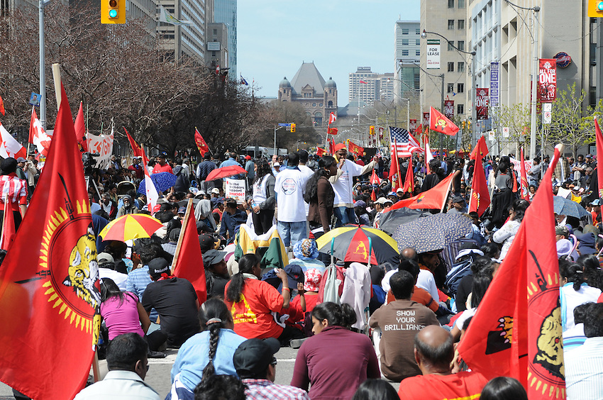 Toronto Tamils protest in front of The United States Consulate in Toronto on Monday, April 27, 2009.