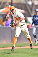 Tennessee Volunteers third baseman Nick Senzel (13) throws the ball to first during game one of a double header against the UC Irvine Anteaters at Lindsey Nelson Stadium on March 12, 2016 in Knoxville, Tennessee. The Volunteers defeated the Anteaters 14-4. (Tony Farlow/Four Seam Images)