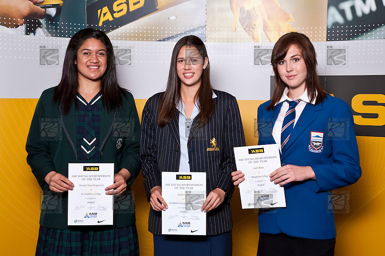 Netball finalists Toesulu Tone-Fitzpatrick, Kayla Cullen & Carli Botes. ASB College Sport Auckland Secondary School Young Sports Person of the Year Awards held at Eden Park on Thursday 12th of September 2009.