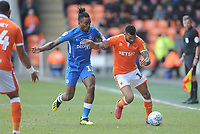 Blackpool's Curtis Tilt under pressure from Peterborough United's Ivan Toney<br /> <br /> Photographer Kevin Barnes/CameraSport<br /> <br /> The EFL Sky Bet League One - Blackpool v Peterborough United - Saturday 13th April 2019 - Bloomfield Road - Blackpool<br /> <br /> World Copyright &copy; 2019 CameraSport. All rights reserved. 43 Linden Ave. Countesthorpe. Leicester. England. LE8 5PG - Tel: +44 (0) 116 277 4147 - admin@camerasport.com - www.camerasport.com