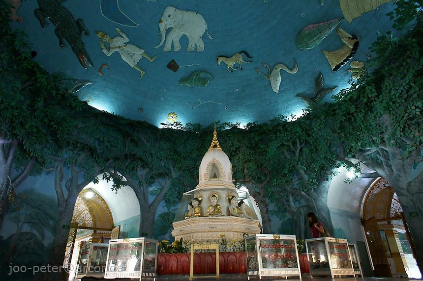 hall inside Maha Wizaya pagoda with wall painting of night sky with mythical creatures of astrology, Yangon, Myanmar, 2011