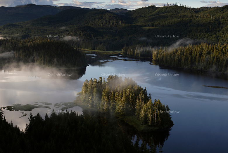 Fog over Thorne River and estuary on Prince of Wales Island in Alaska's Southeast.