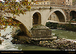 Ponte Fabricio 62 BC detail of oldest original Roman Bridge Isola Tiberina Tiber River Rome