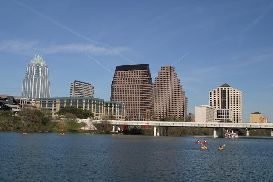 Austinites enjoy year-round canoeing kyaking on Lady Bird Lake in downtown Austin, Texas