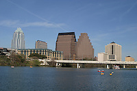 Austinites enjoy year-round canoeing kyaking on Lady Bird Lake in downtown Austin, Texas