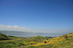 Golan Heights. a view of the Sea of Galilee from the foothill of Mount Susita