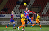 Luke Gutteridge of Dagenham & Redbridge death Sam Wood of Wycombe Wanderers to the ball during the Sky Bet League 2 match between Dagenham and Redbridge and Wycombe Wanderers at the London Borough of Barking and Dagenham Stadium, London, England on 9 February 2016. Photo by Andy Rowland.