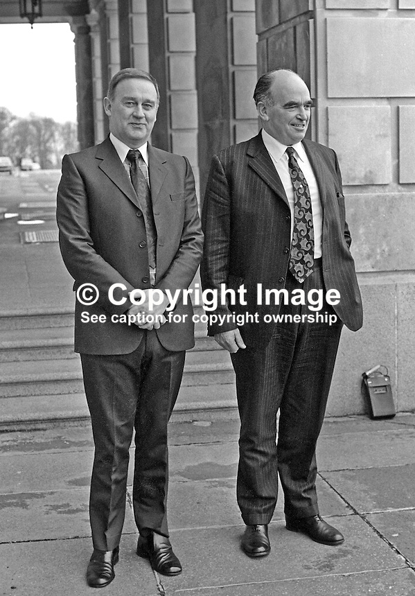 William Craig, aka Bill Craig, leader, Vanguard Progressive Unionist Party, left, and Harry West, leader, Ulster Unionist Party, depart Parliament Buildings, Stormont, N Ireland, following joint meeting to discuss their attitudes to a Provisional IRA ceasefire.  6th January 1975. 197501060021a.<br />