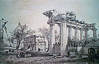 Image of the Roman Forum, when it was a place where cows would graze, with half-buried monuments and students perching on the ruins with a ladder so they could measure them. (The drawing is of Louis-François Cassas (1756-1827).